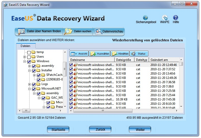 Der Recovery Wizard hilft Emails wieder herstellen
