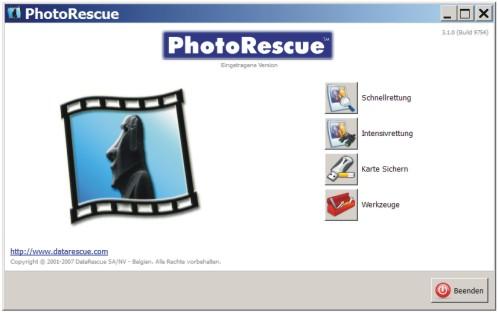 Mit PhotoRescue Fotos retten.