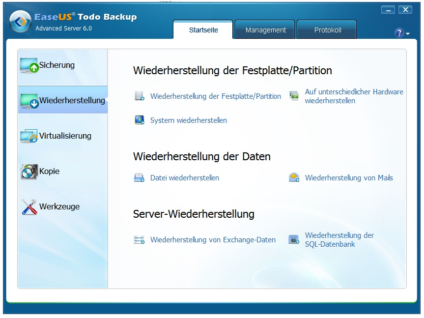 Server Backup wiederherstellen (Restore)