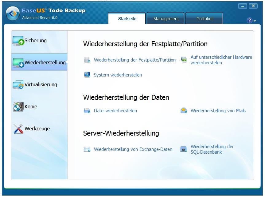 Server Backup wiederherstellen (Restore)