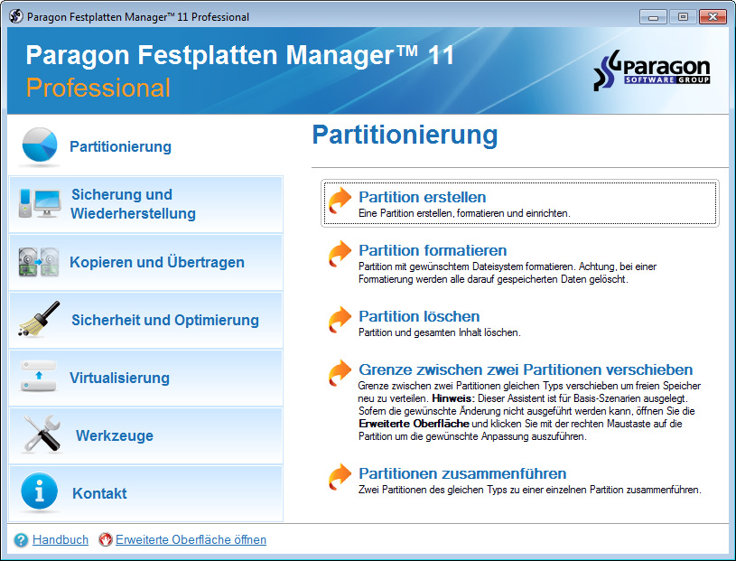 Paragon Festplattenmanager Professional