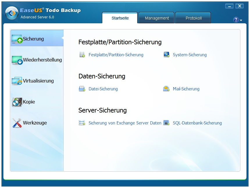 EaseUS Todo Backup Server Deutsche Vollversion