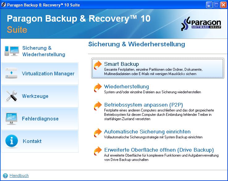 Ausgefeilte Recovery und Backup Funktionen bilden die Basis der Software.