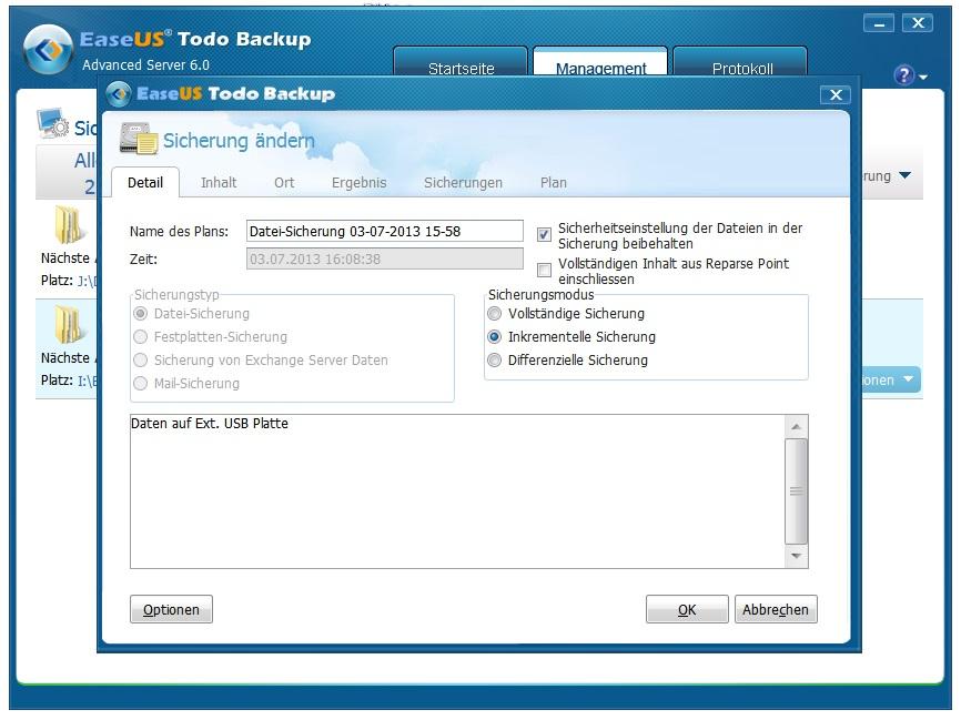 Backup Task erstellen, ändern oder löschen