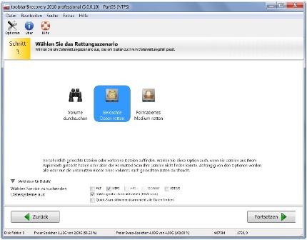 Bei File Recovery können Sie beliebige Rettungsparameter einstellen.