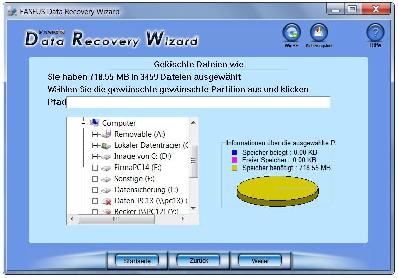 Verzeichnisauswahl für gefundene Dateien